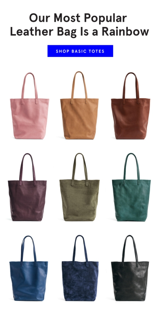 Baggu Leather totes in a rainbow of colors
