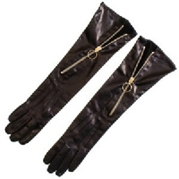 Black Leather Gloved with diagonal zip and o-ring pull
