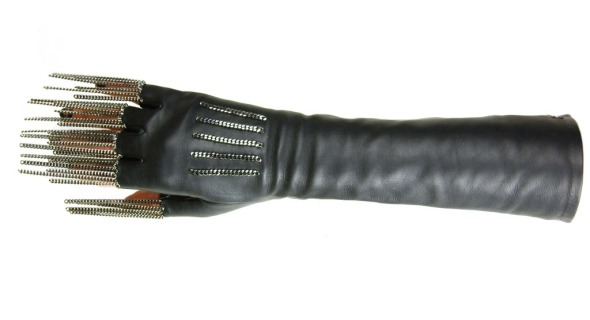 Chanel Black Leather Fingerless Gloves with Chain Fringe