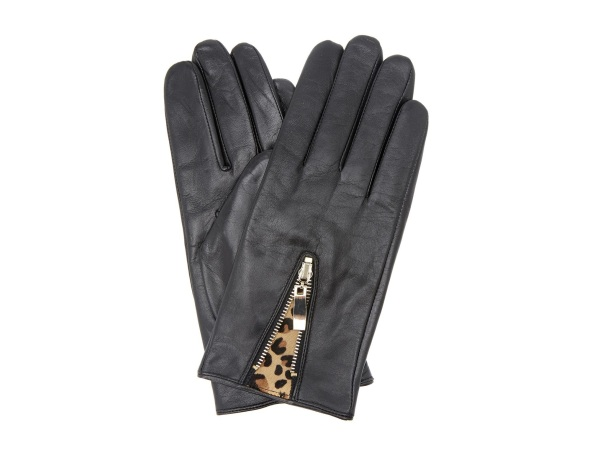 Dune Accessory Black Leather Gloves with Leopard Detail