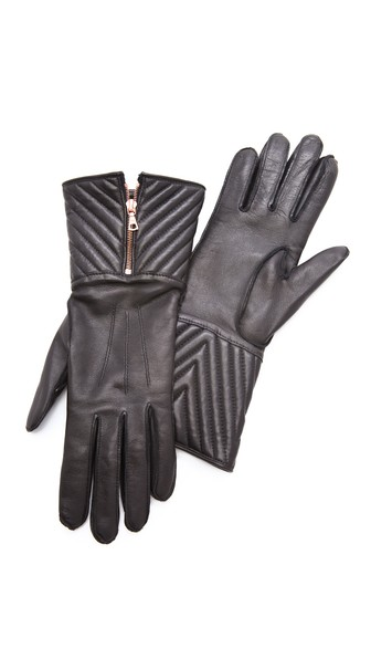 Rag & Bone Chevron Quilted Leather Gloves