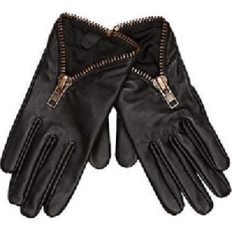 River Island Zip Detail Leather Gloves