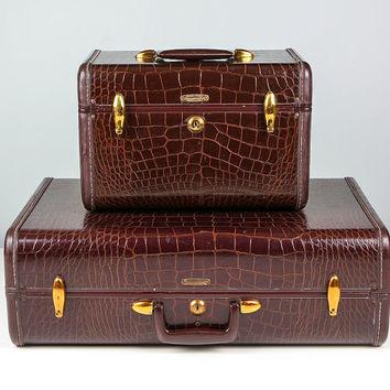 Vintage Samsonite Train Case - Brown Alligator Luggage Suitcase wanelo