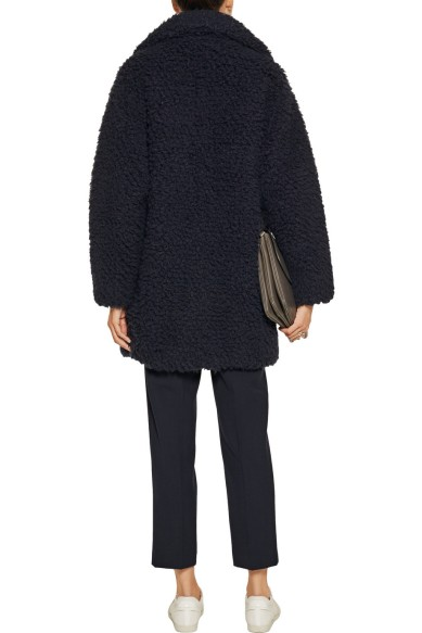 Cocoon Coat Fuzzy Sandro Outnet Midnight 3