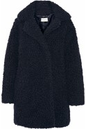 Sandro Faux Fur Coat Navy