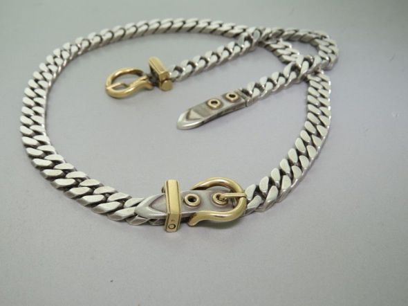 Hermes-Buckle chain sterling and 14K gold 2