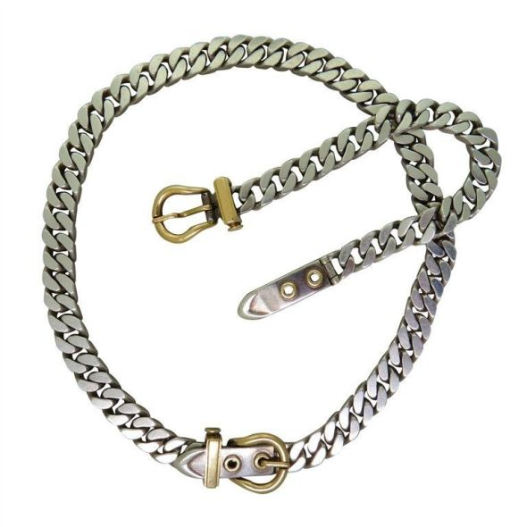 Hermes-Buckle chain sterling and 14K gold