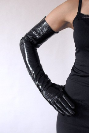 Ines GLOSSY EXTRA LONG LEATHER GLOVES