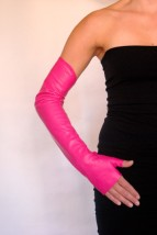 Ines PINK LONG LEATHER OPERA GLOVES