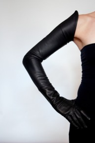 Ines POINTED HEM LONG LEATHER GLOVES