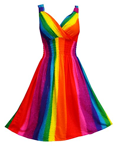Pikulla V Neck Sleeveless Women s Rainbow Gypsy Sundress Multicoloured One Size SM