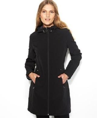 Calvin Klein Hooded Zip-Front Soft-Shell Raincoat