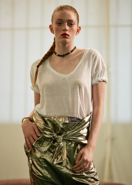Isabel Marant Linen Top and Gold Jumpsuit