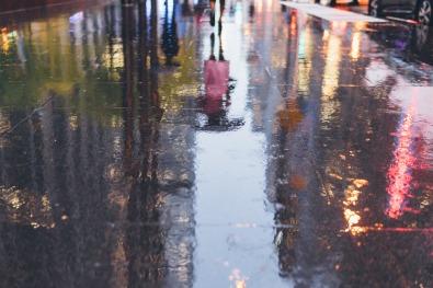 NYC Rain Sidewalk