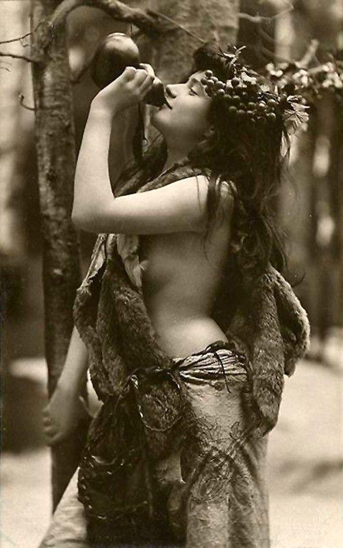 Vintage Photo Ladies Drinking Goddess of Wine