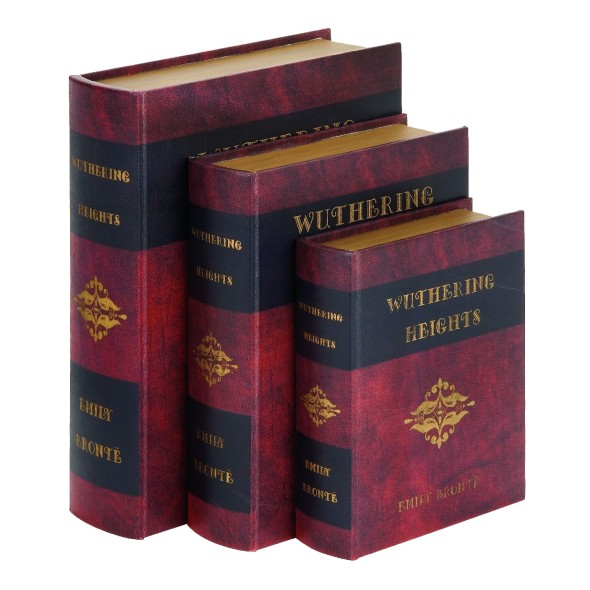 Woodland-Imports-Wuthering-Heights-3-Piece-Leather-Book-Box-Set-61412