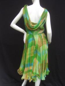 1960s Vibrant Sheer Silk Chiffon Swing Dress back