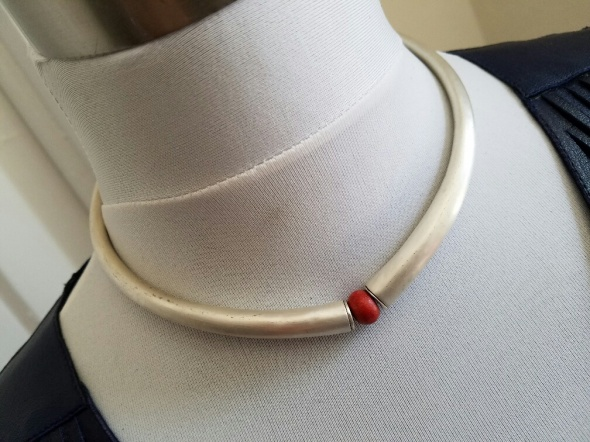 Sterling Silver/Red Coral Collar - Crete