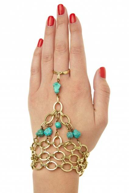 L.George Turquoise Embellished Brass Hand Chain $159 Calypso