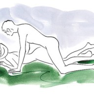 How You lie facedown on the bed, legs straight, hips slightly raised. Benefit This position creates a snug fit. Your guy's stuff will seem even larger. Bonus Some shallow thrusts and deep breathing will help him last longer.