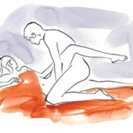 How You lie on your right side; he kneels, straddling your right leg and curling your left leg around his left side. Benefit You get the deeper penetration of doggy style while still being able to make that important eye contact. Bonus Get your guy to put his hands to work.