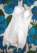 1960s Vintage Lingerie 50s 60s White Bullet Bra Peekaboo Lace Shaper Girdle with Garters