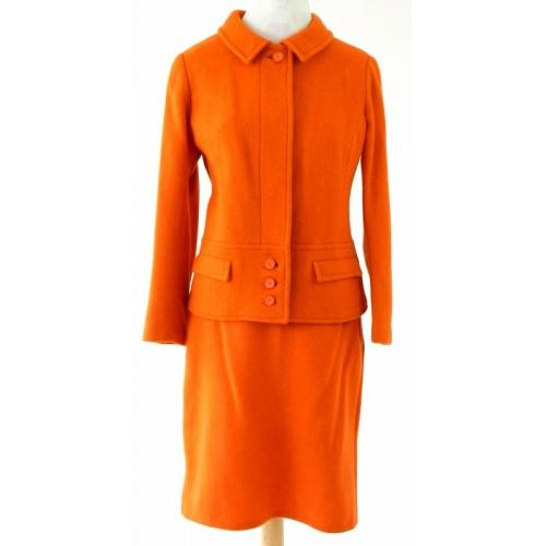 1960s vintage orange citrus wool 2 piece skirt & jacket mod suit (click to purchase)
