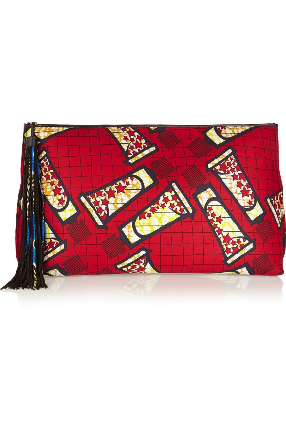 Atelier Vlisco XXL leather-trimmed printed scuba-jersey clutch