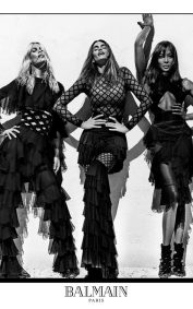 Claudia Schiffer, Cindy Crawford and Naomi Campbell in the Balmain SS16 campaign CREDIT STEVEN KLEIN