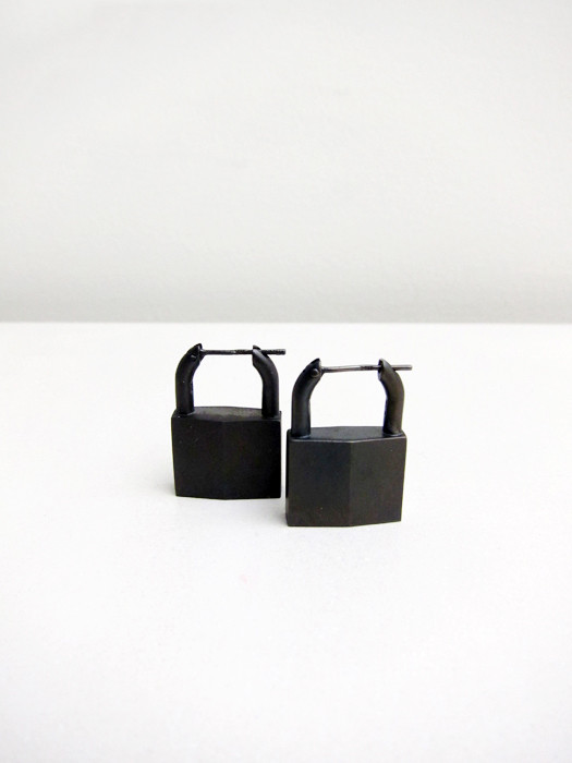 Lauren Klassen Padlock-Earrings--Black-Rhodium