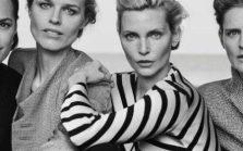 Yasmin Le Bon, Eva Herzigova, Nadja Auermann and Stella Tennant in Giorgio Armani's New Normal collection SS16 campaign CREDIT PETER LINDBERGH