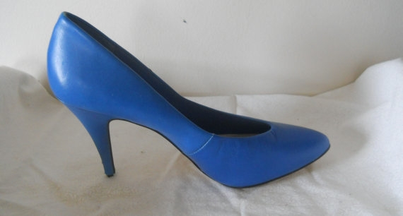 Cobalt Leather Heels Vintage 1980's