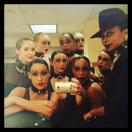Creative Director Fatima Robinson and dancers wearing Bijoux Indiscrets Kristine vinyl mask before their performance with @abelxo at The Oscars