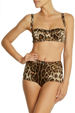 Dolce and Gabbana Leopard-print stretch-silk satin balconette bra pants set