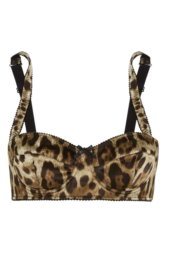 Dolce and Gabbana Leopard-print stretch-silk satin balconette bra