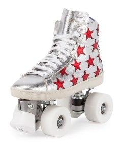 Saint Laurent Court Classic Roller Skate Sneaker, Silver Red $1195 Bergdorf Goodman