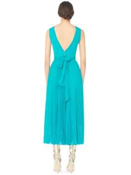 Alice Olivia RYN DEEP V-NECK MIDLENGTH PLEATED DRESS WITH TIE BELT back