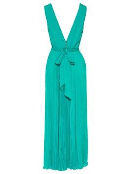 Alice Olivia RYN DEEP V-NECK MIDLENGTH PLEATED DRESS WITH TIE BELT no model back