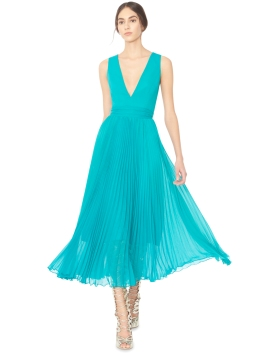 Alice Olivia RYN DEEP V-NECK MIDLENGTH PLEATED DRESS WITH TIE BELT