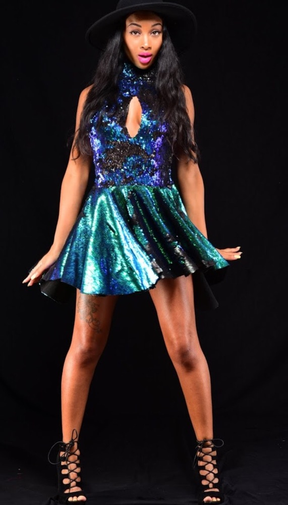 Audacious and Feral Green Lantern Reversible Sequin Dress $148