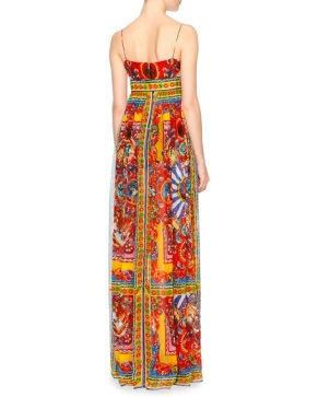 Dolce Gabbana Carretto-Print Surplice Silk Gown, Red Yellow Blue back