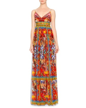 Dolce Gabbana Carretto-Print Surplice Silk Gown, Red Yellow Blue