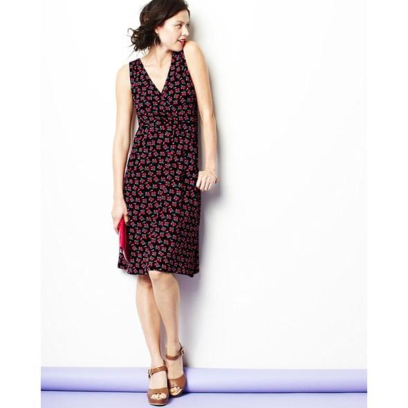 Garnet Hill Starlet Knit Dress Cherries Print