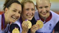 Olympic Athletes Dani King, Laura Trott and Joanna Rowsell Britian Track Cycling Gold