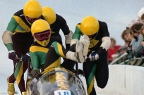 Olympic Athletes Jamaican-Bobsled-Team Photo Dean Bicknell-CNS