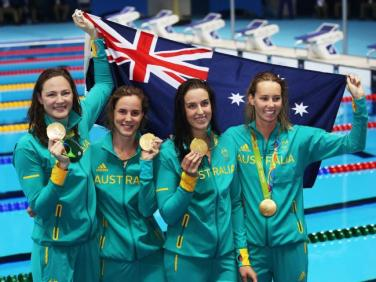 Olymppic Athletes Cate Campbell, Bronte Campbell, Brittany Elmslie, Emma McKeon Gold Medal Australia