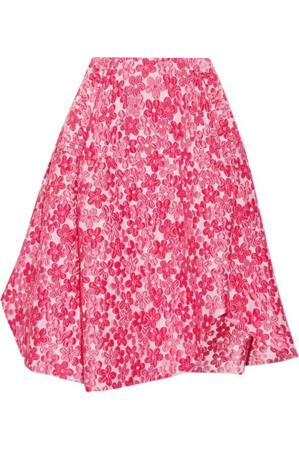 Simone Rocha Floral-cloqué asymmetric skirt OutNet