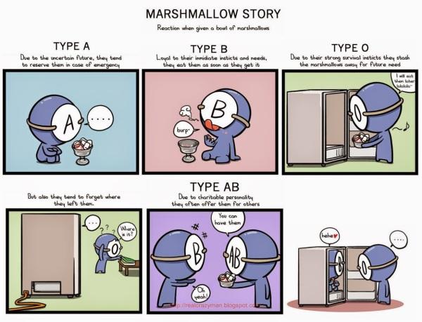 Blood type marshmallow story