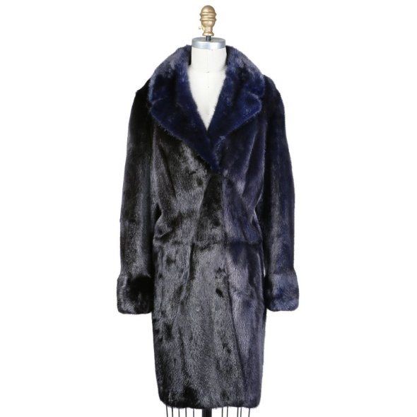 Decades Couture Midnight Blue and Black Mink Coat Fall 2015 FENDI $7500