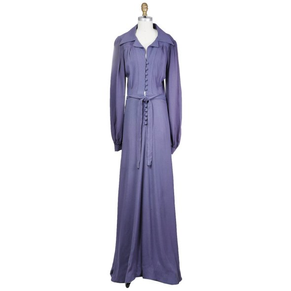 Decades MOSS CREPE DRESS with Bell Sleeves and Empire Waist circa 1970s Ossie Clark $2100